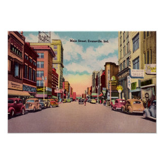 Calle principal de Evansville Indiana Posters