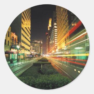 Calle principal de Houston en la noche Pegatina Redonda