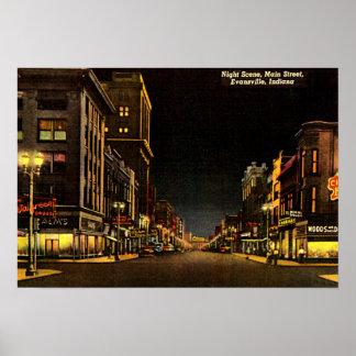 Calle principal de la escena de la noche de Evansv Póster