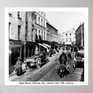 Calle principal Galway, Irlanda, fin del siglo XIX Póster