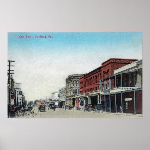 Calle principal SceneWoodland, CA Póster
