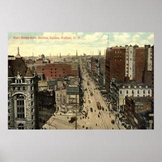 Calle principal, vintage 1912 del búfalo NY Poster