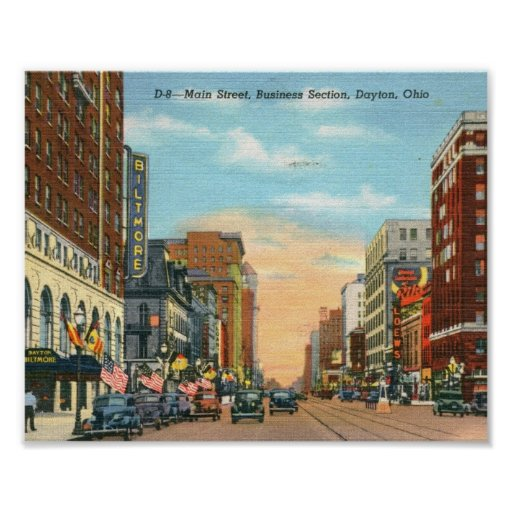 Calle principal, vintage de Dayton, Ohio Poster