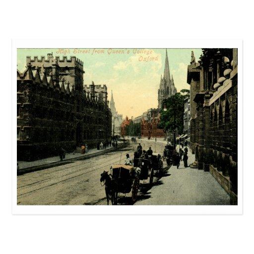 Calle principal, vintage de Oxford, Inglaterra Tarjeta Postal