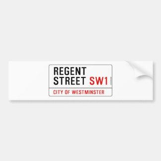 Calle regente etiqueta de parachoque