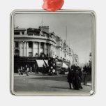 Calle regente, Londres, c.1900 Adorno Navideño Cuadrado De Metal