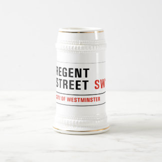 Calle regente, placa de calle de Londres Jarra De Cerveza