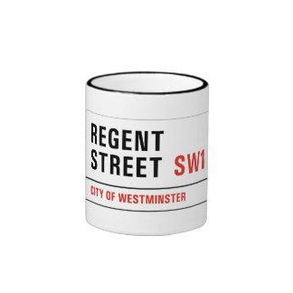 Calle regente, placa de calle de Londres Taza De Dos Colores
