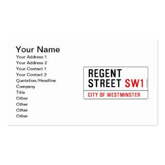Calle regente tarjetas de visita