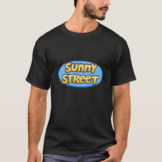 Calle soleada - trasera en negro playera