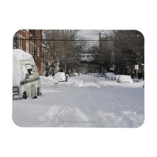 Calle urbana residencial (de la ciudad) en inviern imán rectangular
