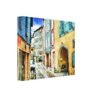 Calle vieja pintoresca del guijarro impresiones de lienzo
