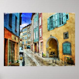 Calle vieja pintoresca del guijarro póster