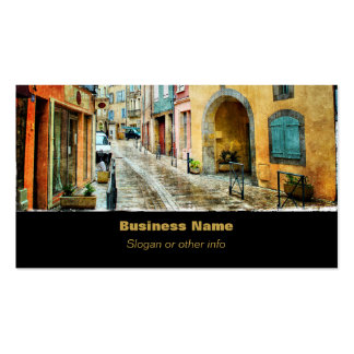 Calle vieja pintoresca del guijarro tarjetas de visita