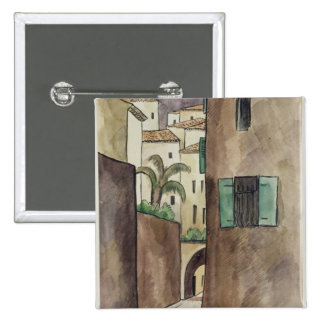 Calle y casas mediterráneas pin cuadrado