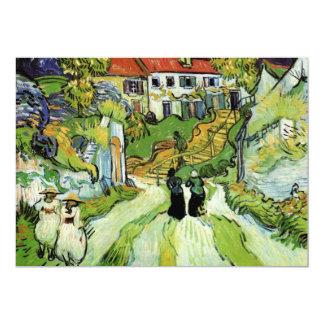 """Calle y pasos del pueblo en Auvers de Van Gogh Invitación 5"""" X 7"""""""