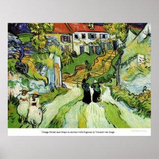 Calle y pasos del pueblo en Auvers de Van Gogh Póster