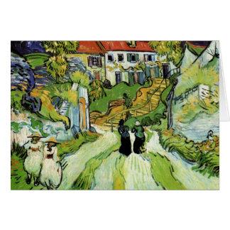 Calle y pasos del pueblo en Auvers de Van Gogh Tarjeta De Felicitación