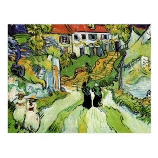 Calle y pasos del pueblo en Auvers de Van Gogh Tarjeta Postal