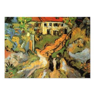 """Calle y pasos del pueblo en Auvers - Van Gogh Invitación 5"""" X 7"""""""