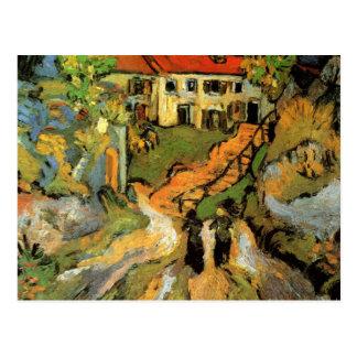 Calle y pasos del pueblo en Auvers - Van Gogh Tarjeta Postal