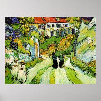 Calle y pasos (Van Gogh) del pueblo Póster