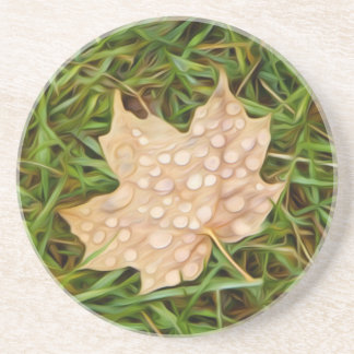 called leaf with dew drops drink coaster