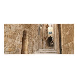 """Callejón antiguo en el cuarto judío, Jerusalén Invitación 4"""" X 9.25"""""""