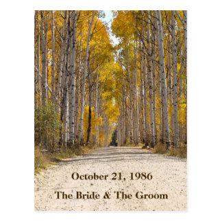 Callejón de Aspen en postales del boda del otoño