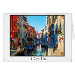 Callejón de Venecia con cita del amor Felicitación