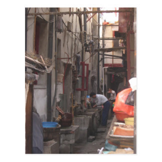Callejón en la postal de Shangai