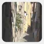Callejón estrecho, Siena, Italia Pegatina Cuadrada