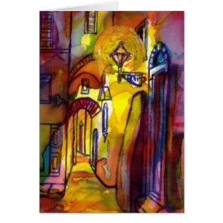 Callejón medieval por noche en Florencia - detalle Tarjeta De Felicitación