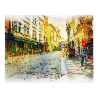 Calles de la acuarela vieja de Praga Postales