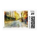 Calles de la acuarela vieja de Praga Sello Postal