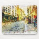 Calles de la acuarela vieja de Praga Tapete De Ratones