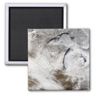 Calles de la nube sobre el lago Superior y el lago Imán Cuadrado