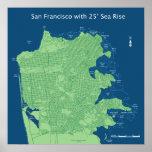 Calles de San Francisco con subida del nivel del m Posters