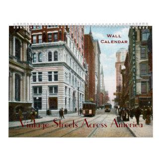 Calles del vintage a través del calendario de