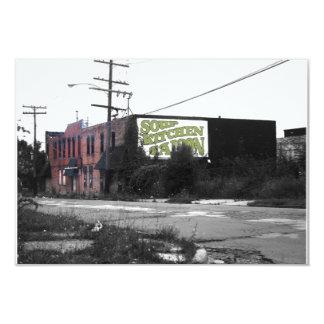 """Calles destruidas de Detroit en el centro de la Invitación 3.5"""" X 5"""""""
