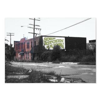 """Calles destruidas de Detroit en el centro de la Invitación 5"""" X 7"""""""