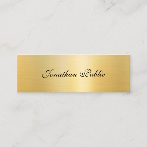 Calligraphed Template Modern Elegant Gold Look Mini Business Card