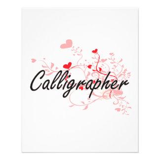 "Calligrapher Artistic Job Design with Hearts 4.5"" X 5.6"" Flyer"