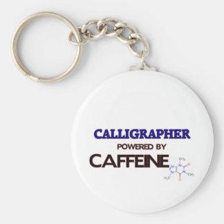 Calligrapher Powered by caffeine Basic Round Button Keychain
