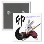 Calligrapher Rabbit -Button- square バッジ