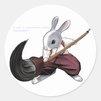 Calligrapher Rabbit - Sticker- Classic Round Sticker