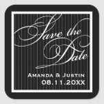 Calligraphic Black Pinstripe Save the Date Sticker