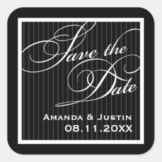 Calligraphic Black Pinstripe Save the Date Sticker