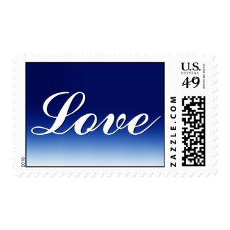 Calligraphic Blue White Love Wedding Postage