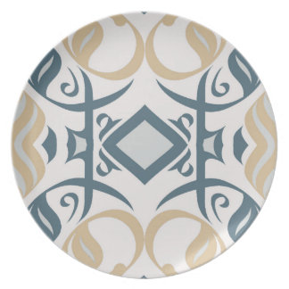 Calligraphic Dinnerplate in Blue and Gold Dinner Plate